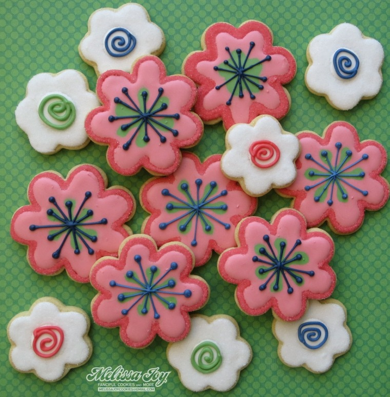 retro flowers with swirlies
