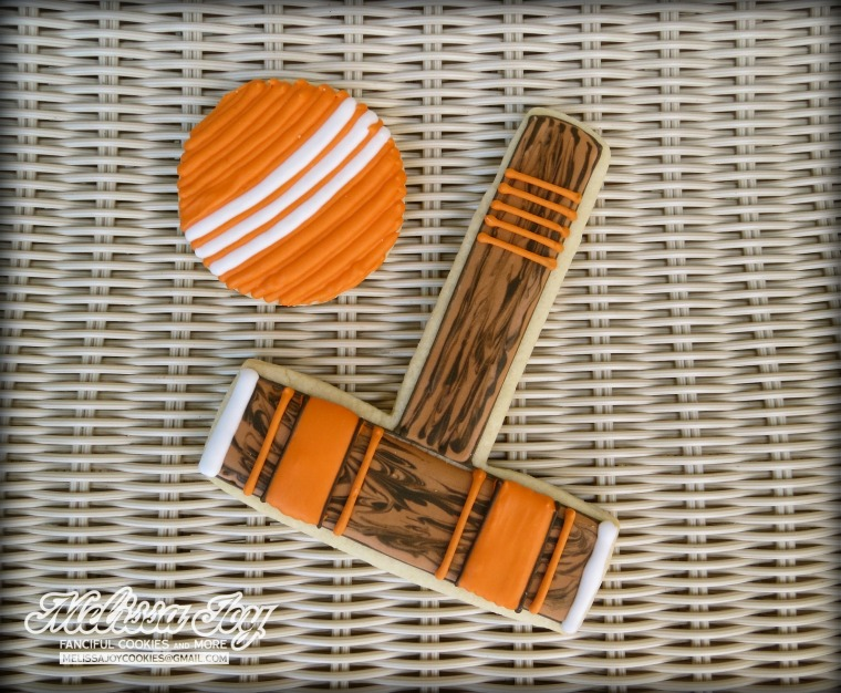 croquet mallet and ball cookie by melissa joy
