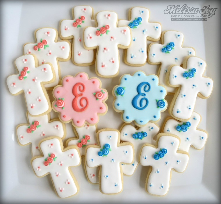 Baptism Cross Cookies with Monogram by Melissa Joy