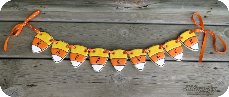 candy corn cookie garland by melissa joy cookies