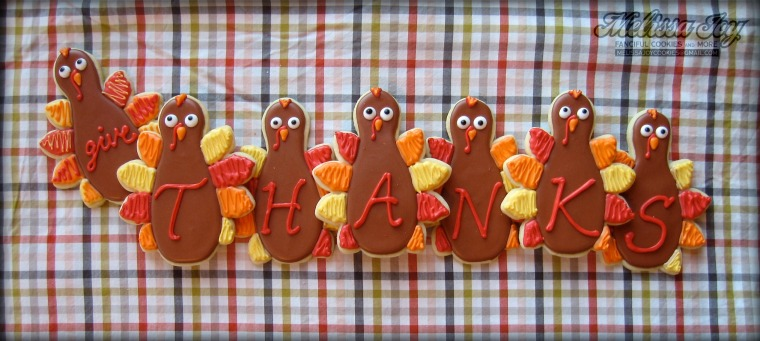 Give Thanks Turkeys by Melissa Joy Cookies