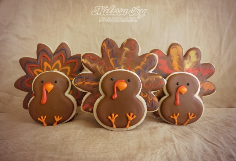 three turkey cookies for thanksgiving by melissa joy