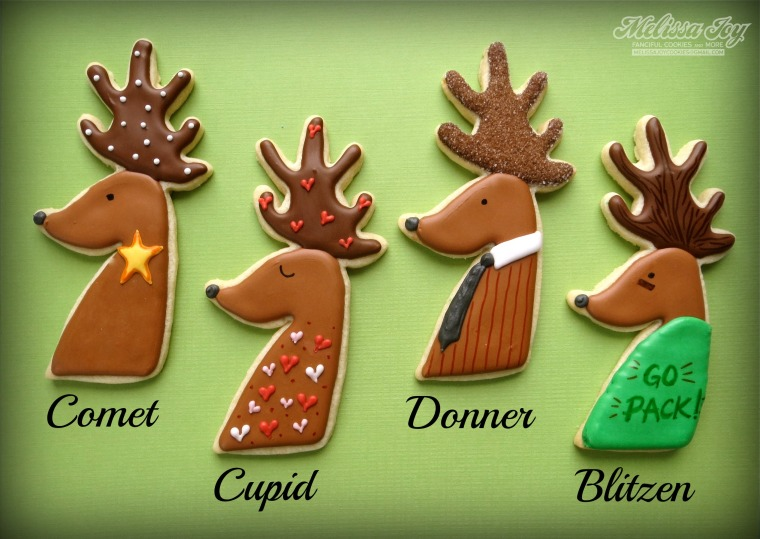 Comet, Cupid, Donner, Blitzen Reindeer Cookies by Melissa Joy