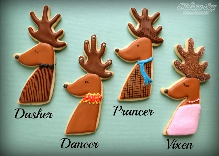 Dasher, Dancer, Prancer, Vixen Reindeer Cookies by Melissa Joy