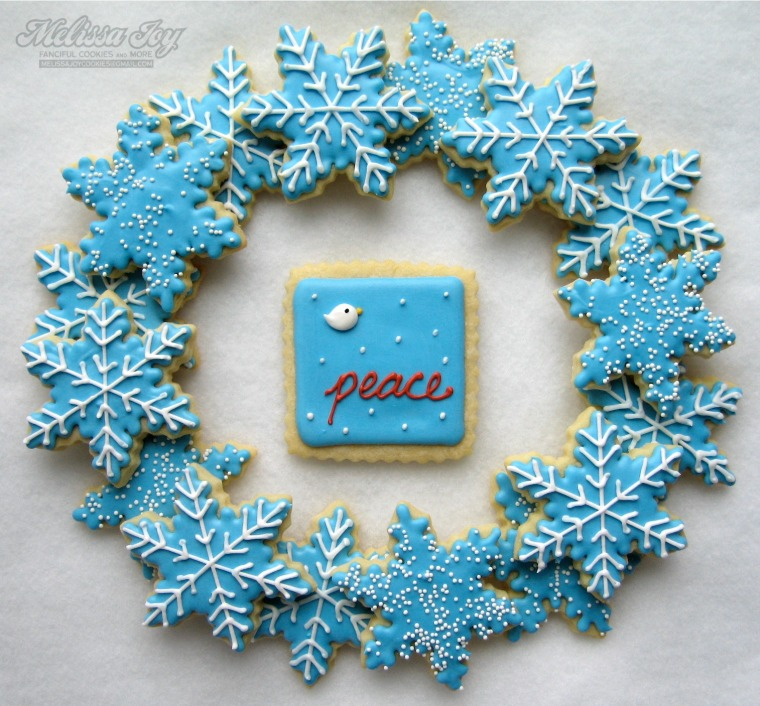 snowflakes with bird cookie