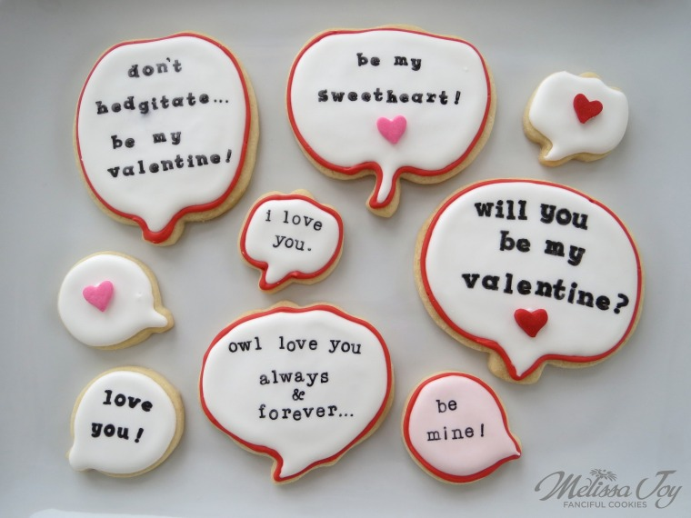 Valentine Speech Bubble by Melissa Joy Cookies