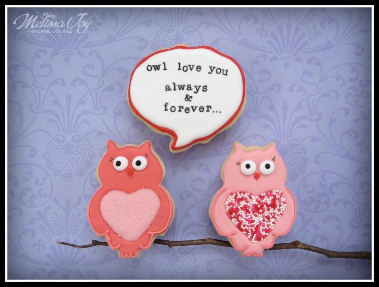 Valentine's Day Owl Cookies by Melissa Joy Cookies
