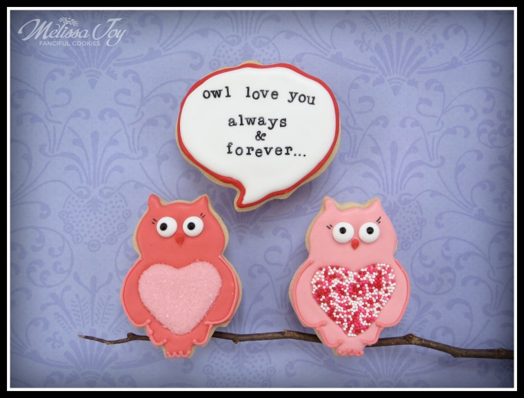 Valentine's Day Owl Cookies by Melissa Joy Cookies