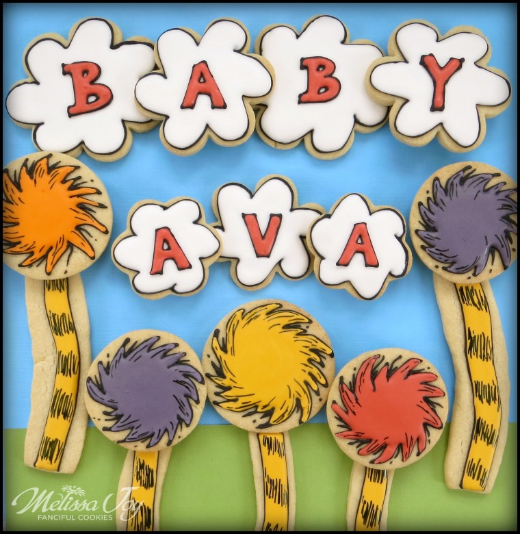 Dr. Suess Lorax Baby Shower Cookies by Melissa Joy