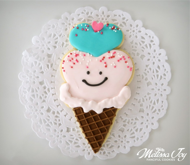Valentine ice cream cone cookie by melissa joy