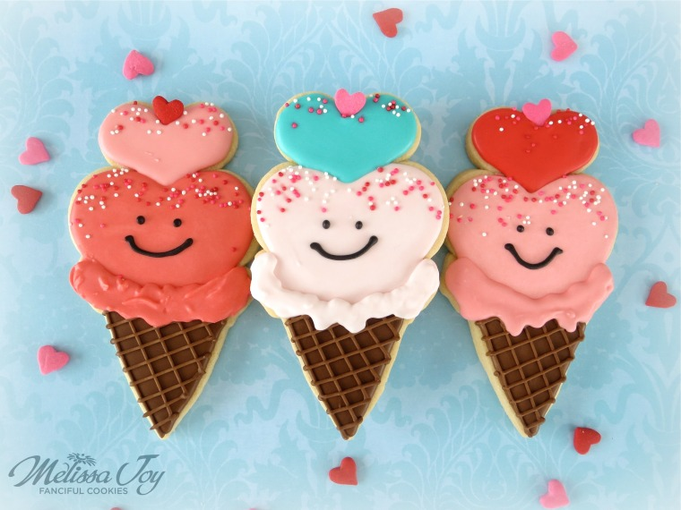 Valentine Ice Cream Cone Cookies by Melissa Joy Cookies