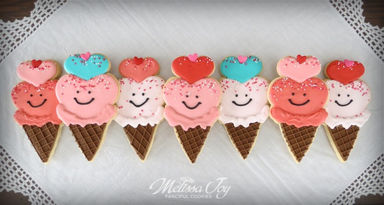 Valentine Ice Cream Cookies by Melissa Joy Cookies
