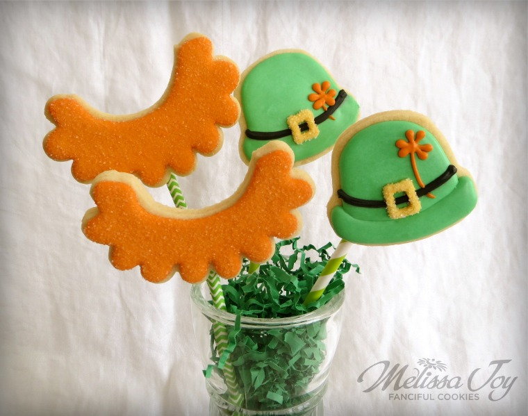St. Patrick's Day Hat and Beard cookies by Melissa Joy.jpg