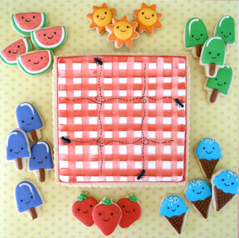 Tic Tac Toe Cookie for Summer by Melissa Joy Cookies
