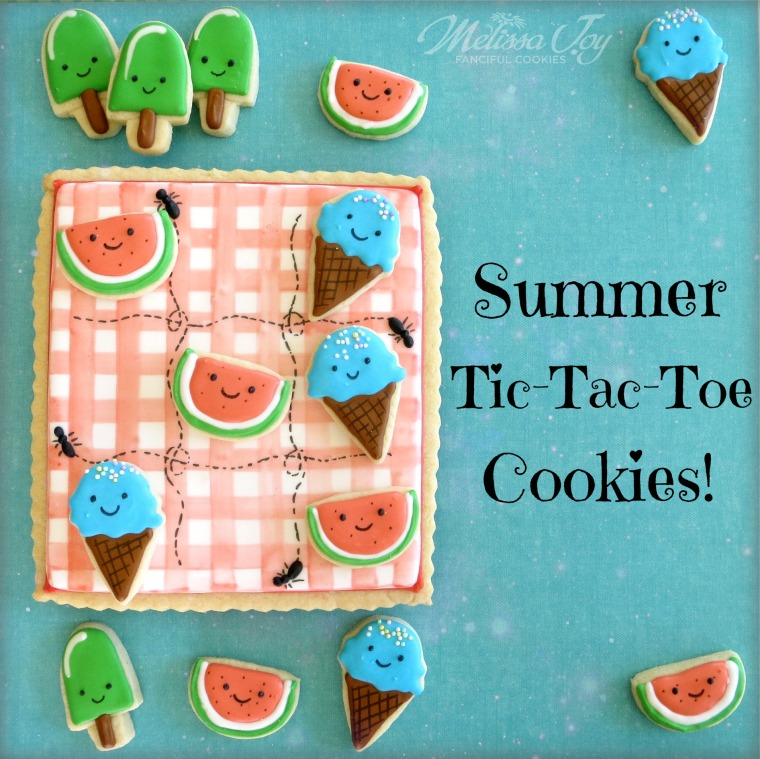 Summer Tic Tac Toe Cookies by Melissa Joy
