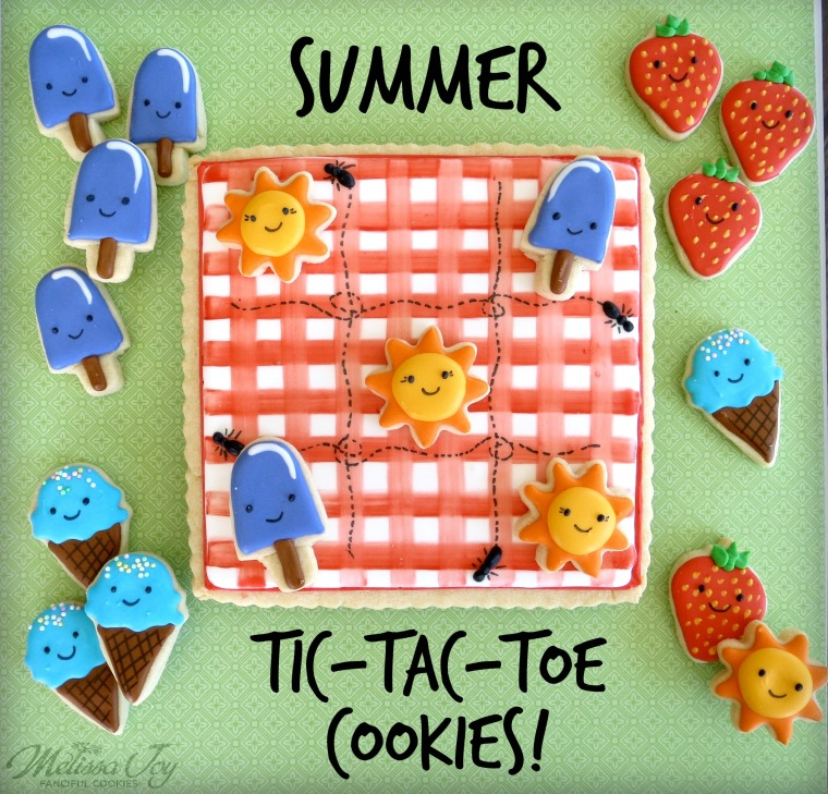 summer tic tac toe cookies by melissa joy cookies