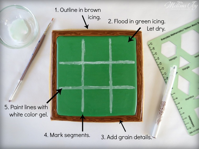 Chalkboard Tic Tac Toe Cookie How-To by Melissa Joy