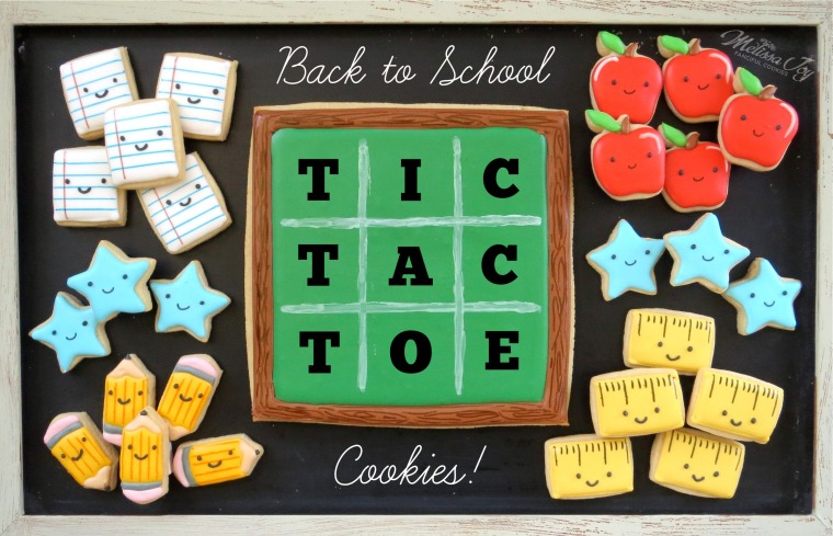tic tac toe back to school cookies by melissa joy
