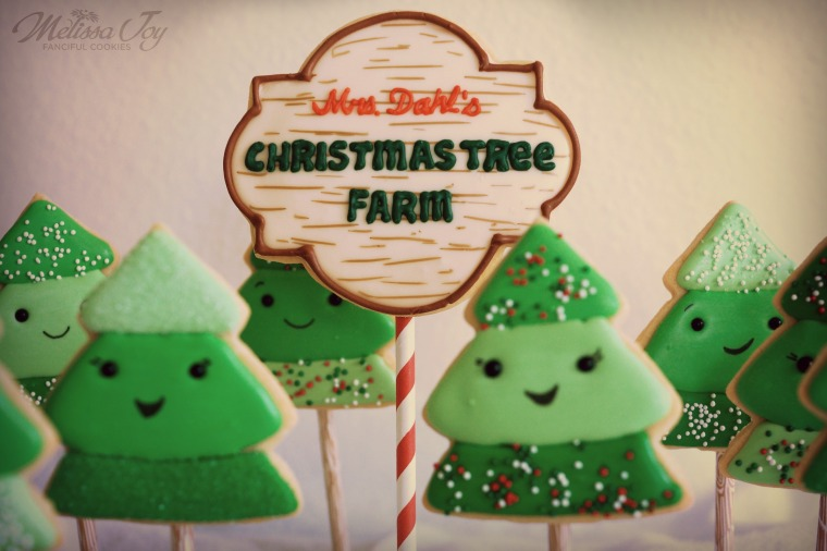christmas tree farm sign cookie