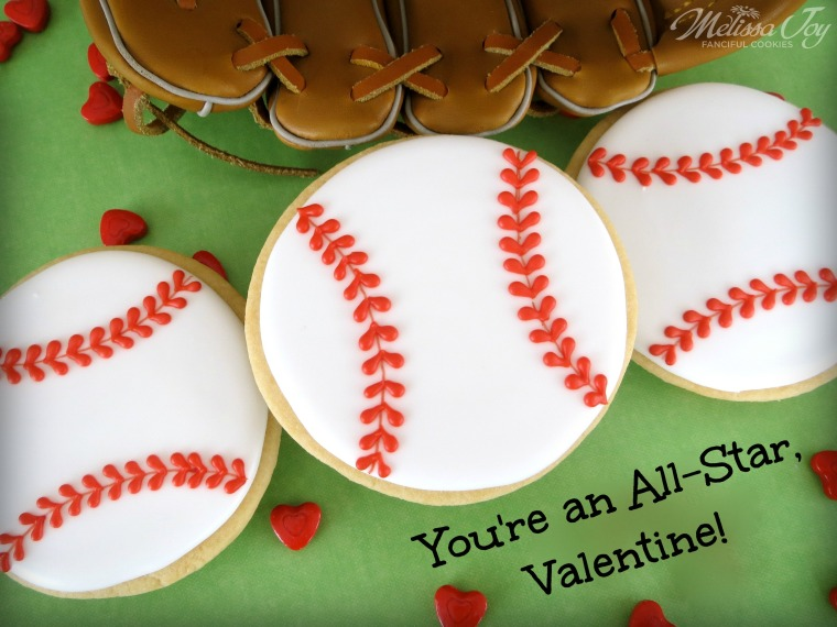 Baseball Valentine Cookies-You're an All-Star, Valentine!-by Melissa Joy Cookies