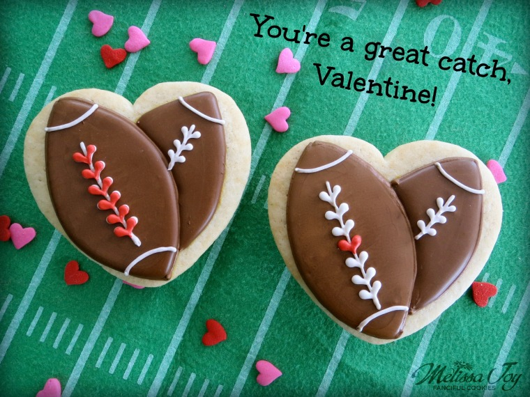football valentine cookies-You're a Catch, Valentine!-by melissa joy cookies