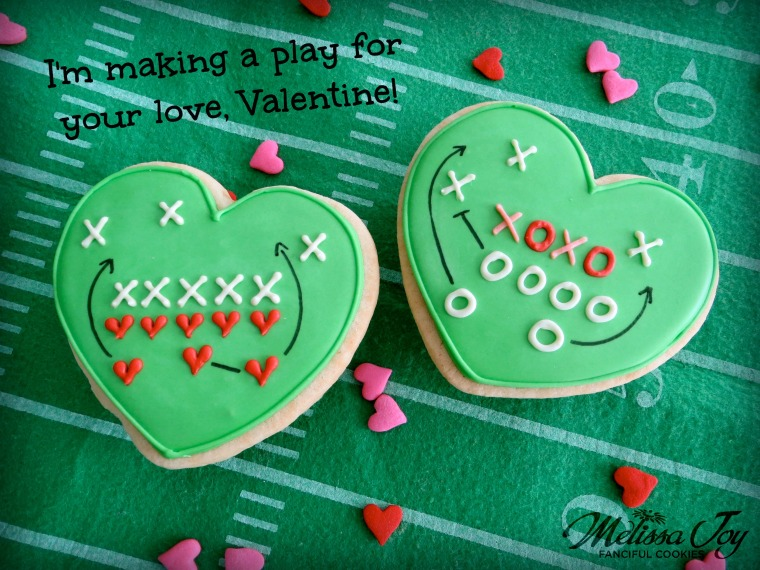 Football Valentine Cookie-I'm making a play for you, Valentine!-By Melissa Joy Cookies