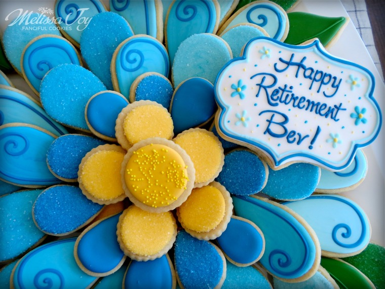 Flower Cookie Platter for Retirement Party by Melissa Joy