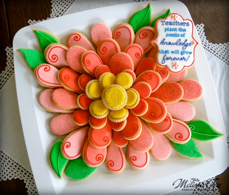 Simple Flower Cookie Platter-Teacher Appreciation by Melissa Joy Cookies