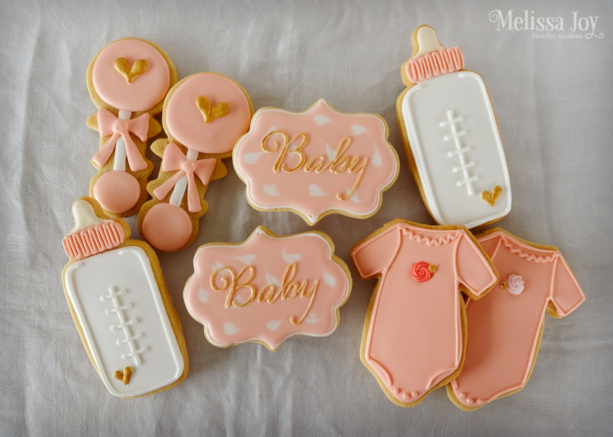Baby Girl Baby Shower Cookies With Gold